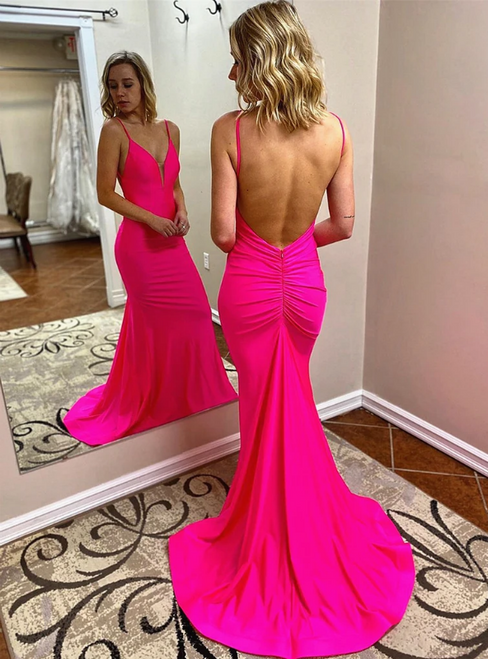 Hot Pink Mermaid V-neck Backless Pleats Prom Dress