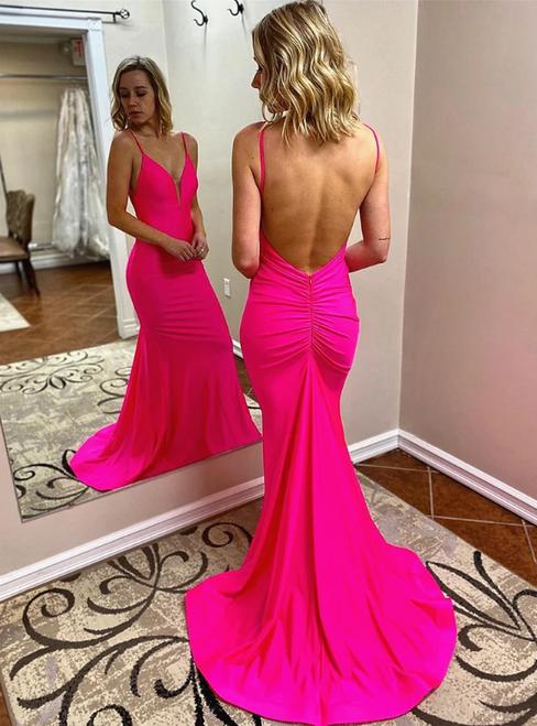 Hot Pink Mermaid V-neck Backless Pleats Prom Dress