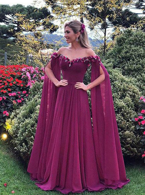 A-Line Purple Tulle Off the Shoulder Appliques Prom Dress