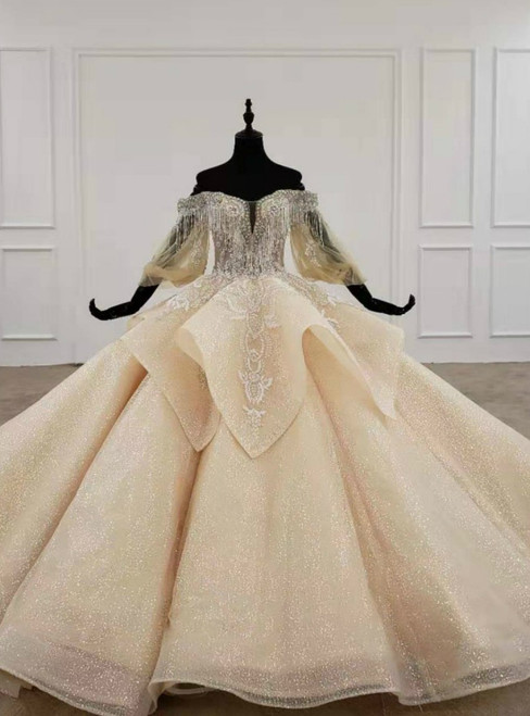 Dark Champagne Tulle Off the Shoulder Puff Sleeve Beading Wedding Dress 2020