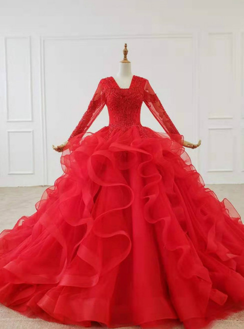 Red Ball Gown V-neck Long Sleeve Beading Wedding Dress 2020