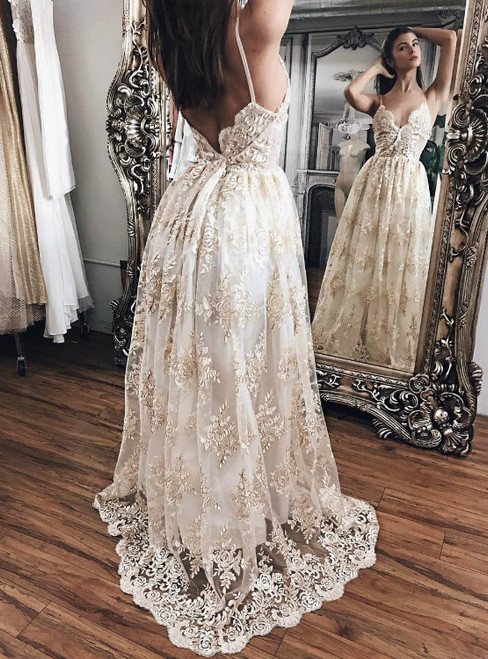 Ivory Outdoor Countryside Boho Beach Wedding Dress with Champagne Appliques