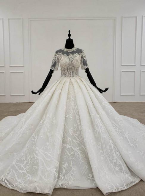 Ivory White Tulle Lace Short Sleeve High Neck Beading Sequins Wedding Dress 2020