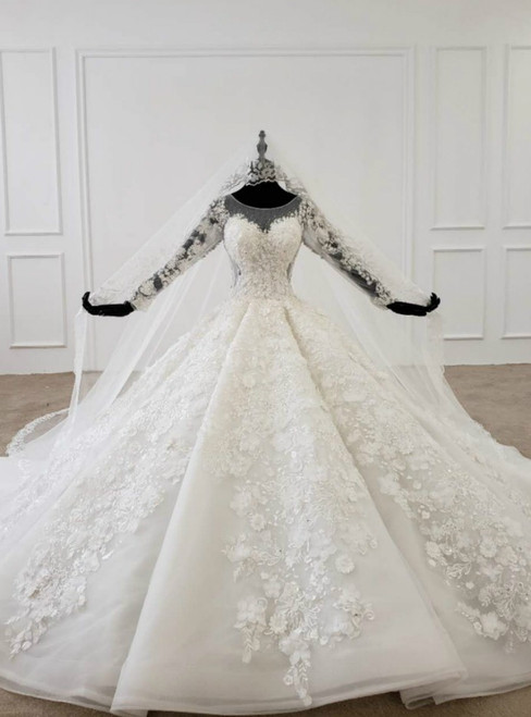 White Ball Gown Tulle 3D Appliques Long Sleeve Wedding Dress With Veil 2020