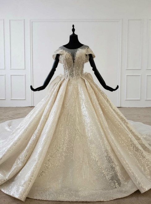 Champagne Sequins Cap Sleeve Backless Wedding Dress With Long Train 2020