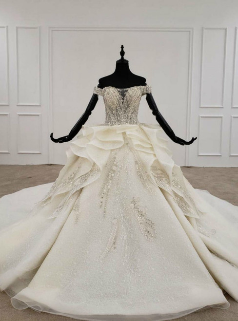 Champagne Ball Gown Tulle Off the Shoulder Appliques Beading Sequins Wedding Dress 2020