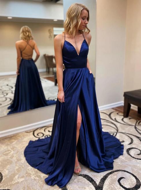 A-Line Navy Blue Satin V-neck Backless Prom Dresss With Pocket 2020