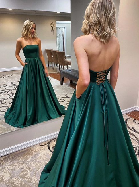 A-Line Green Satin Strapless Prom Dress With Pocket 2020