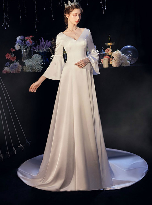 A-Line White Satin V-neck Horn Sleeve Wedding Dress