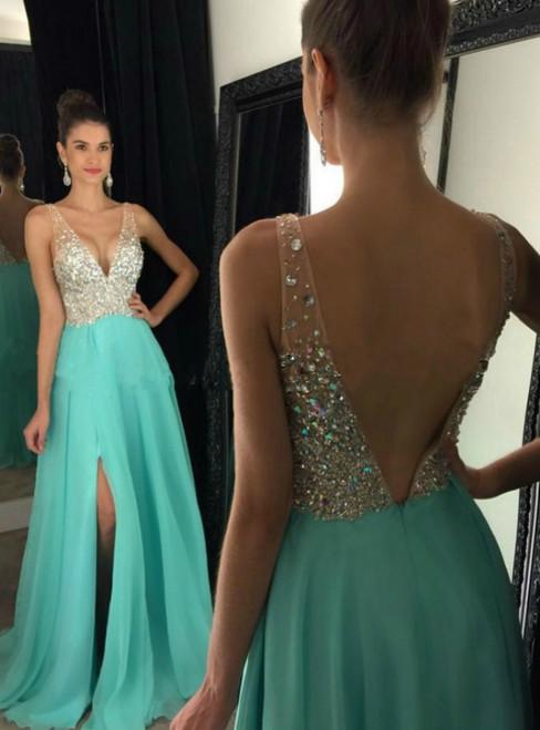 Backless Deep V-Neck Chiffon Long Prom Dress with Side Slit