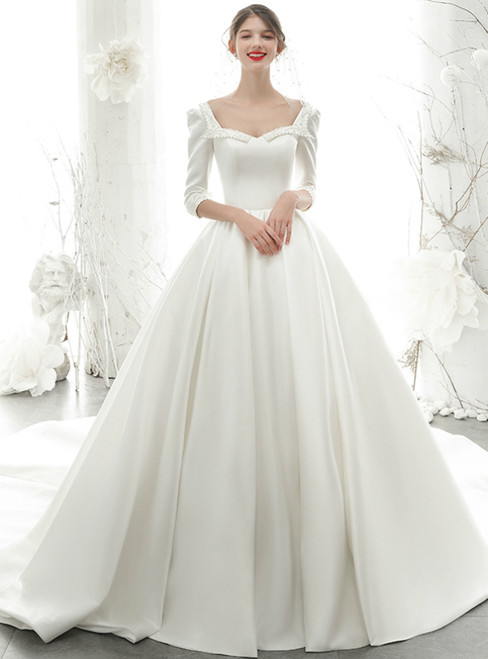 White Ball Gown Satin Square 3/4 Sleeve Wedding Dress With Pearls