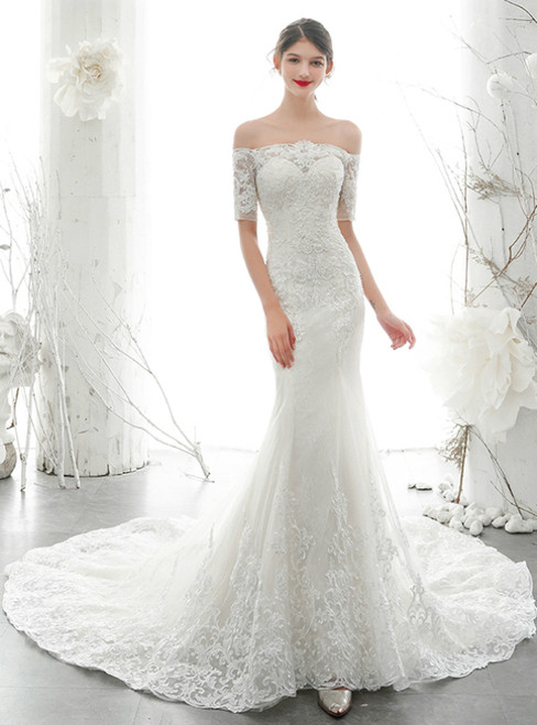 White Mermaid Tulle Lace Appliques off the Shoulder Short Sleeve Pearls Wedding Dress 2020