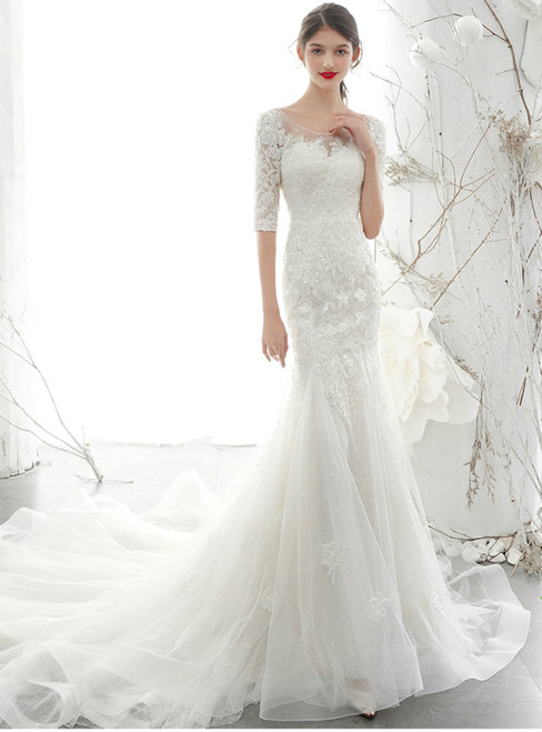 White Mermaid Tulle Lace Appliques Short Sleeve Backless Wedding Dress 2020