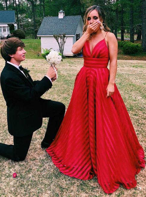 A-Line Red Organza Spaghetti Straps Prom Dress 2020