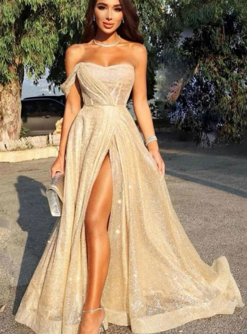 A-Line Gold Sequins Pleats Prom Dress With Side Split