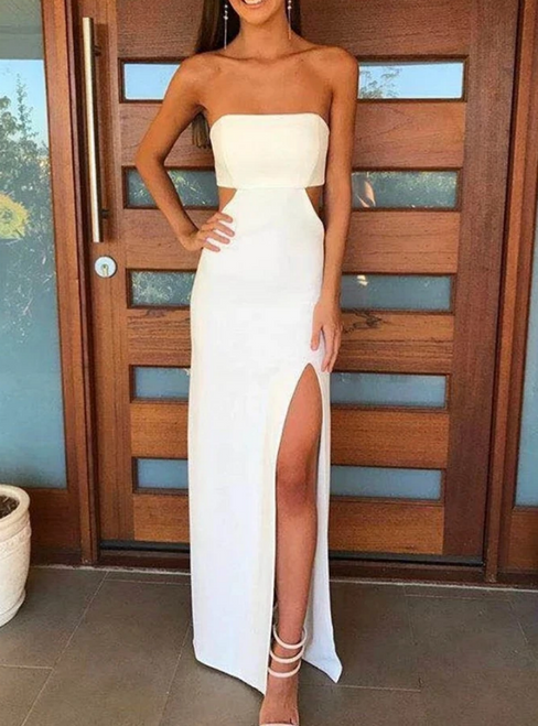 Sexy Simple White Satin Strapless Cut Out Prom Dress 2020