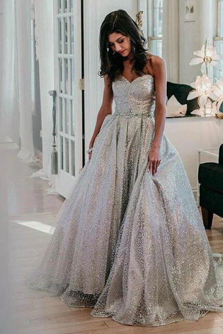 A-Line Silver Sequins Sweetheart Crystal Long Prom Dress 2020