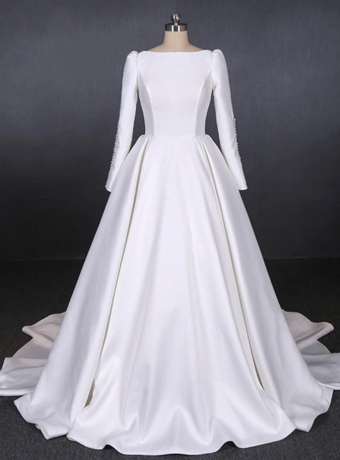 White Ball Gown Satin Long Sleeve Backless Wedding Dress 2020