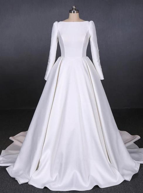 White Ball Gown Satin Long Sleeve Backless Wedding Dress 2020