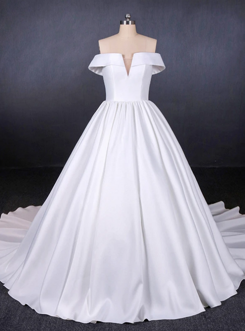 White Ball Gown Satin Off the Shoulder Pleats Wedding Dress 2020