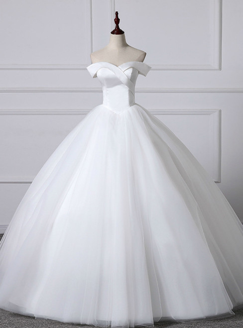 White Ball Gown Tulle Satin Off the Shoulder Wedding Dress 2020