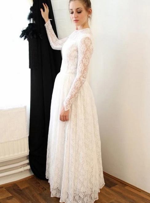A-Line White Lace Long Sleeve Floor Length Wedding Dress 2020