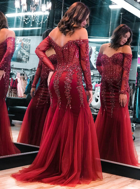 Burgundy Mermaid Tulle Long Sleeve Off the Shoulder Beading Sequins Prom Dress 2020