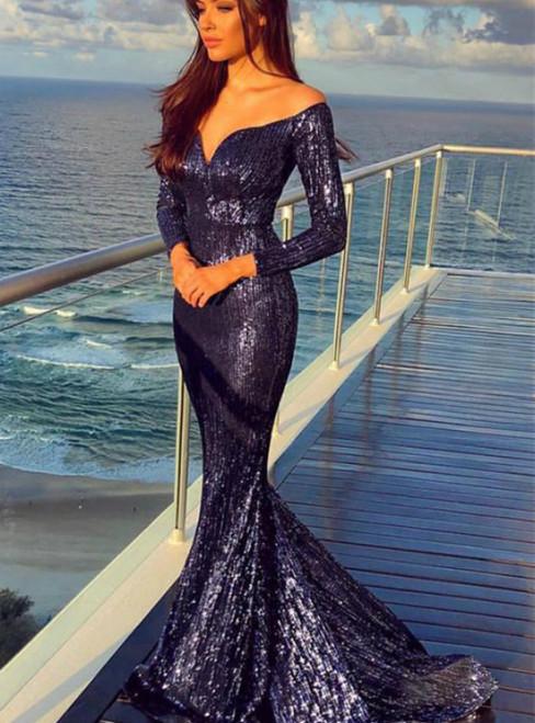 Navy Blue Mermaid Sequins Off the Shoulder Long Sleeve Prom Dress 2020