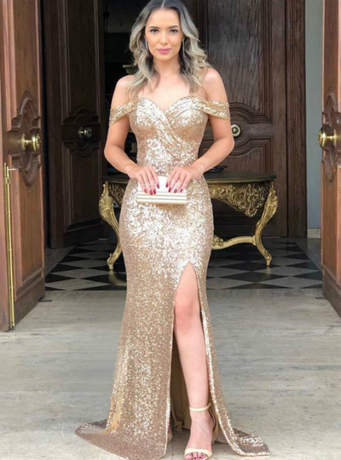 Gold Mermaid Sequins Off the Shoulder Prom Dress With Side Split 2020