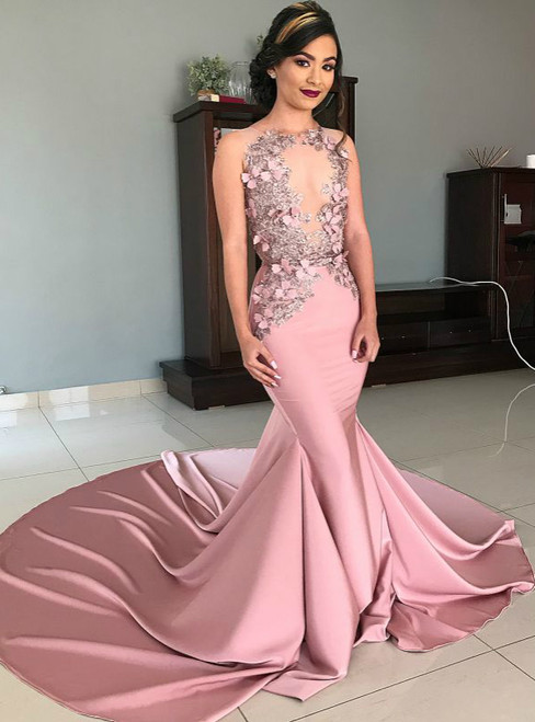 Pink Mermaid Satin Sequins Appliques See Through Prom Dress 2020