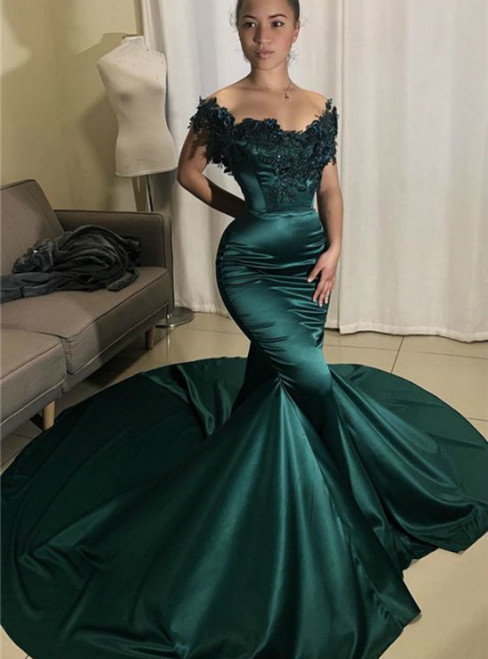Green Mermaid Satin Off the Shoulder Appliques Prom Dress 2020