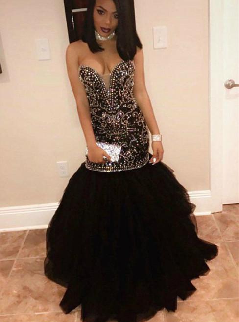 Black Mermaid Tulle Sweetheart Beading Prom Dress 2020