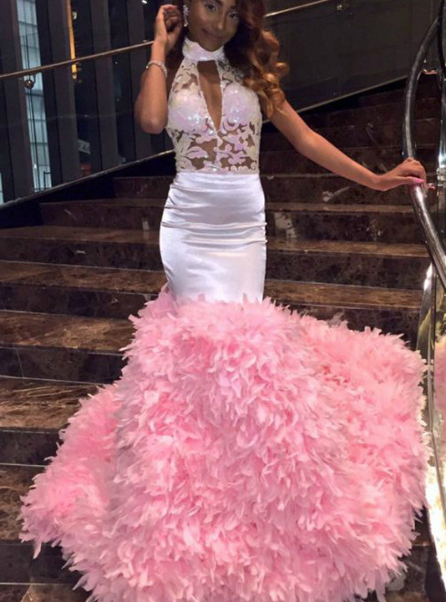 Pink Mermaid Satin Halter Sequins Backless Prom Dress With Feather