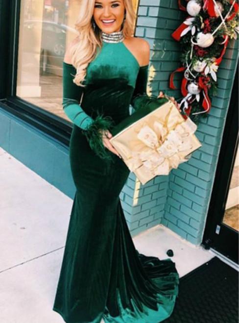 Green Mermaid Velvet High Neck Long Sleeve Cold Shoulder Prom Dress 2020