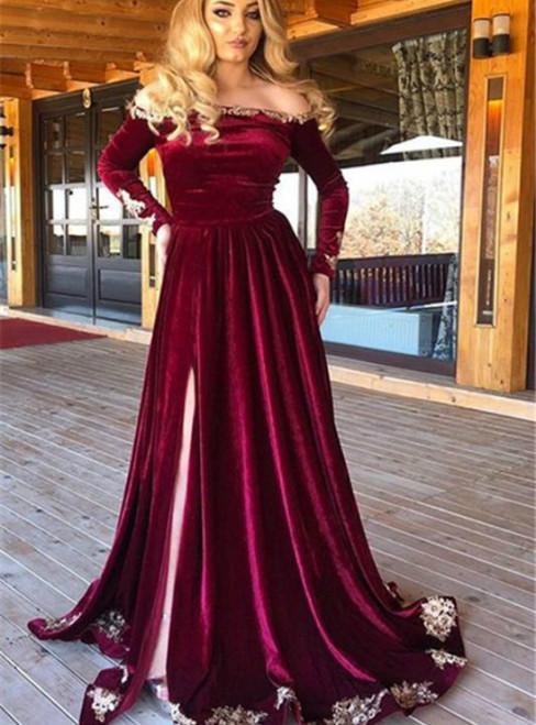 Nurgundy Mermaid Velvet Off the Shoulder Long Sleeve Prom Dress 2020