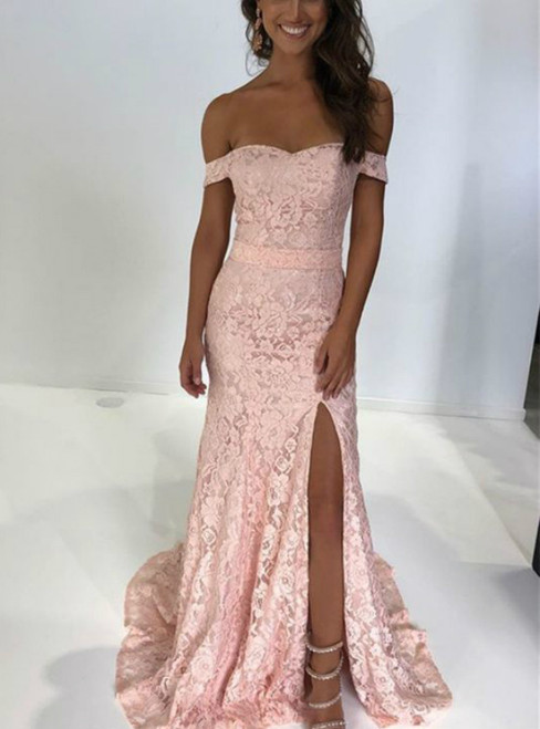 Pink Mermaid Lace Off the Shoulder Prom Dress With Split 2020