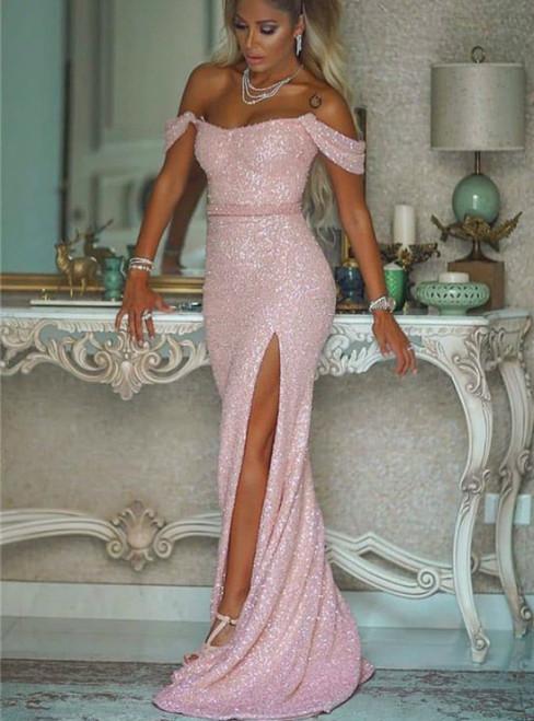 Pink Mermaid Sequins Off the Shoulder Prom Dress With Side Split 2020