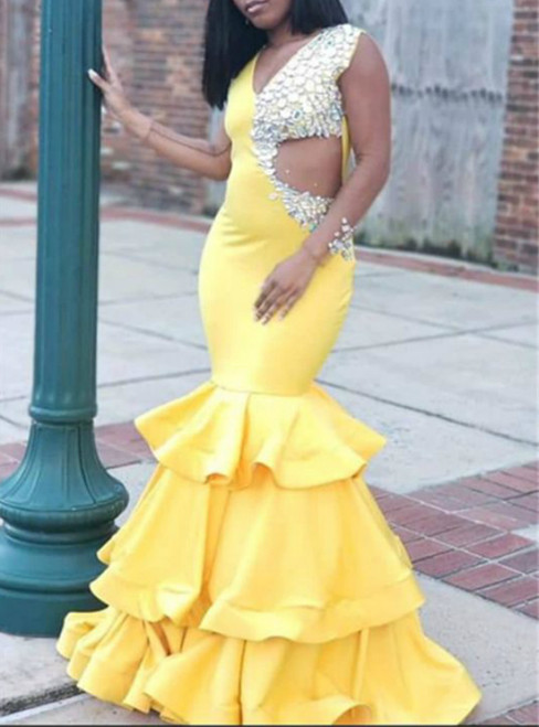 Yellow Mermaid Satin V-neck Crystal Long Prom Dress 2020