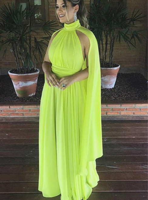A-Line Yellow Chiffon High Neck Pleats Prom Dress 2020