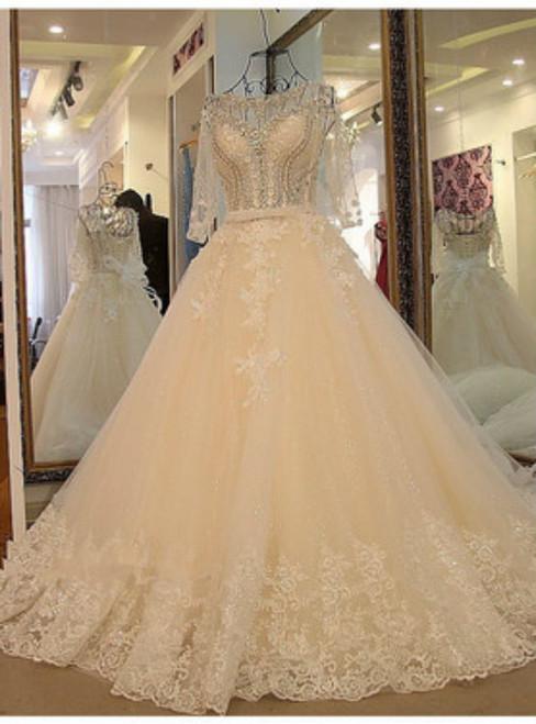 Wedding Dress Sexy Long Sleeves Wedding Dress White Flash Diamond Long