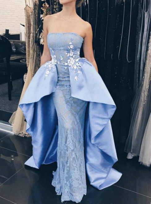 Blue Mermaid Strapless Lace Appliques Prom Dress