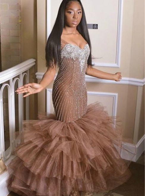 Coffee Mermaid Tulle V-neck Prom Dress With Beading Sequins 2020