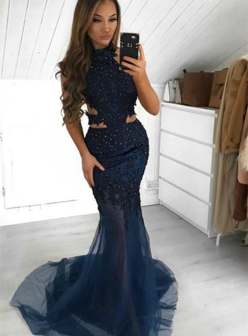 Navy Blue Mermaid Tulle Appliques Halter Beading Prom Dress 2020