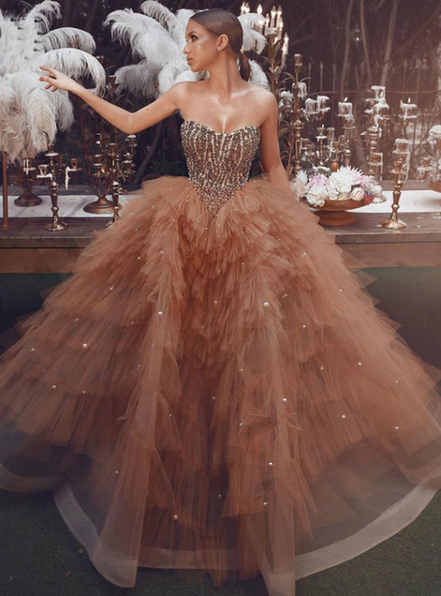 Coffee Ball Gown Tulle Beading Strapless Tiers Prom Dress 2020