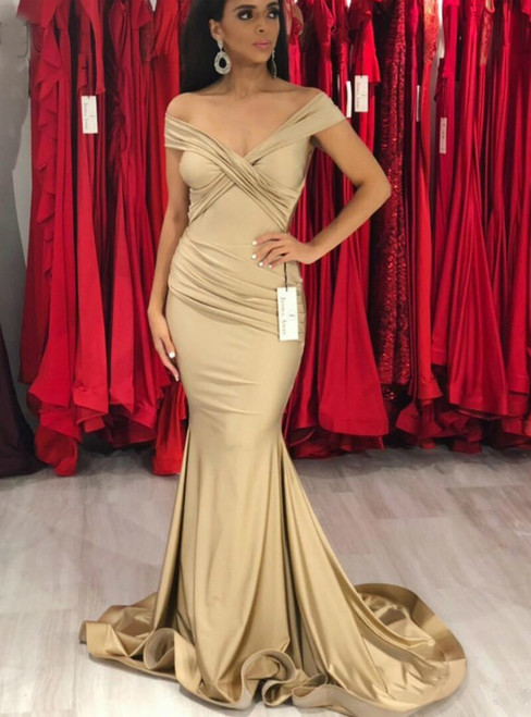 Champagne Mermaid Satin Off the Shoulder Pleats Prom Dress 2020