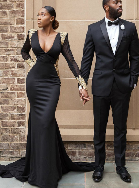 Black Mermaid Satin Deep V-neck Long Sleeve Appliques Prom Dress 2020