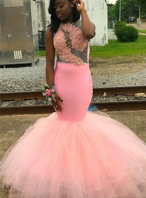 Pink Mermaid Satin Tulle Beading Sequins Backless Prom Dress 2020