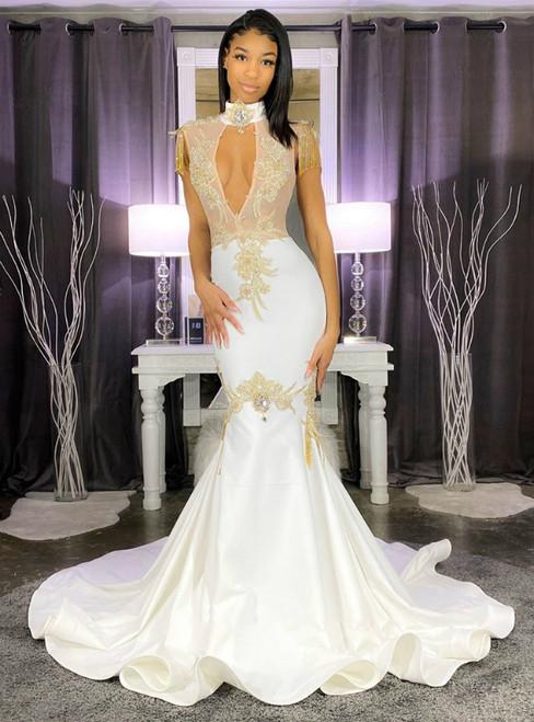 White Mermaid Satin High Neck Appliques Beading Prom Dress