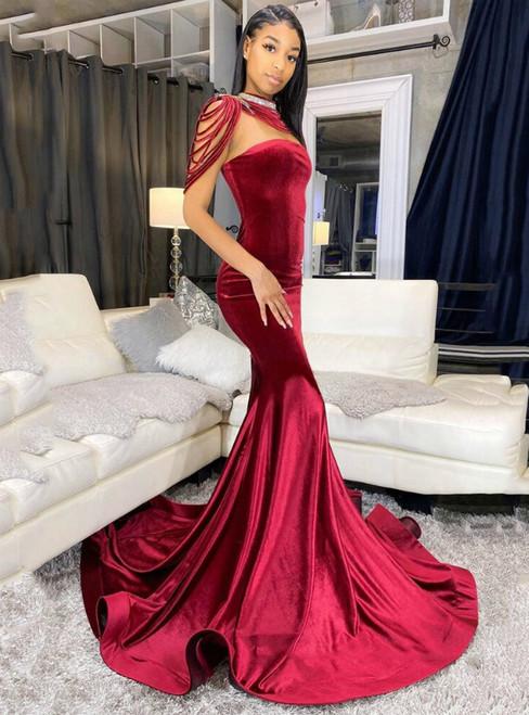 Burgundy Mermaid Strapless Velvet Long Prom Dress 2020