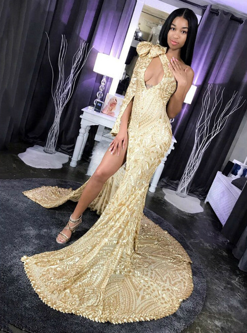 Gold Mermaid Sequins One Shoulder Prom Dress With Side Split 2020